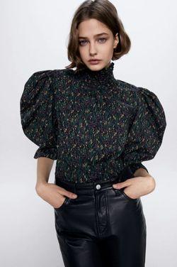 Блуза ZARA Черный с принтом 2070/001/800
