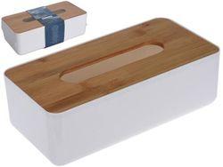 Коробка для салфеток с бамбуковой крышкой 26X13X8cm, пластик