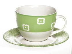 Set cani 2buc 300ml pentru ceai cu farfurii Ambra, verde, in cutie