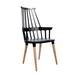 Деревянный стул с высокой спинкой, 560x560x990 мм, черный