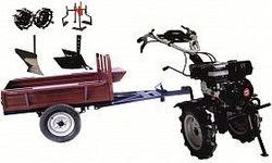 Набор мотоблок TECHNOWORKER HB 700RS ECO+Прицеп RK500 + плуг простой + плуг регулируемый + металлические колеса 4*8 + мотыга