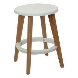 Пластиковый стул, деревянные ножки 335x455 мм, белый