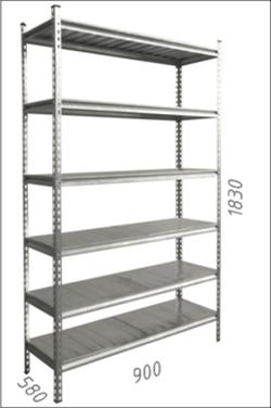 Стеллаж металлический с металлической плитой Gama Box 900Wx580Dx1830H мм, 6 полок/MB
