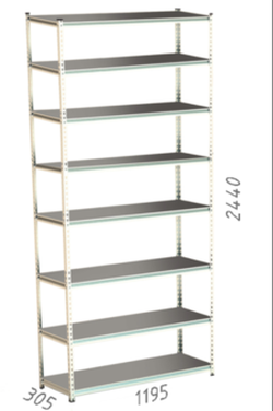 Стеллаж металлический Moduline 1195x305x2440 мм, 8 полок/0112PE серый