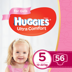Подгузники для девочек Huggies Ultra Comfort 5 (12-22 kg), 56 шт.