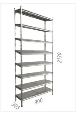 Стеллаж оцинкованный металлический Gama Box 900Wx305xD2130H мм, 8 полки/МРВ