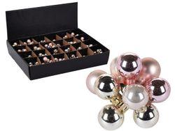 Set globuri 10X20mm, in legatura, perle roz, 4mate si 6lucioase