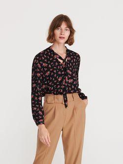 Блуза RESERVED Черный в цветочек
