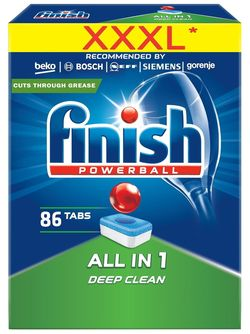 cumpără Detergent mașina de spălat vase Finish 3593 All in One 86 tab (cadou hansa) în Chișinău