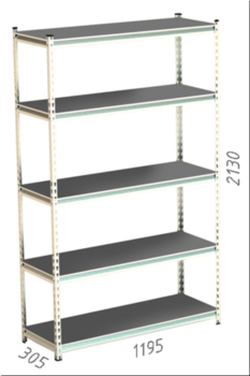 Стеллаж металлический Moduline 1195x305x2130 мм, 5 полок/0112PE серый