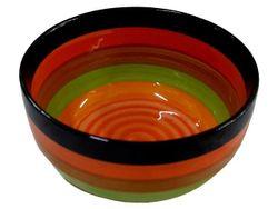 Салатница D19cm, разноцветные полоски, керамика