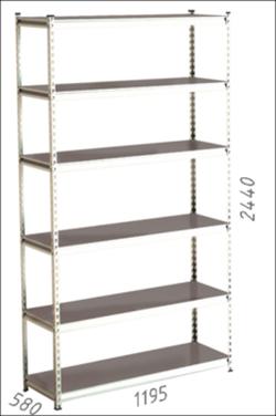 Стеллаж металлический Moduline 1195x580x2440 мм, 6 полок/0112PE серый