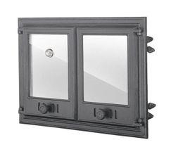 Дверца чугунная со стеклом двустворчатая с термометром DCHP4