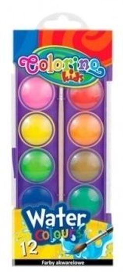 Акварельные  краски большие 12 цв +кисточка Colorino
