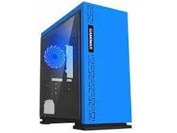 Корпус MATX GAMEMAX EXPEDITION, без блока питания, 1x120мм, синий светодиод, USB3.0, акриловое окно, синий
