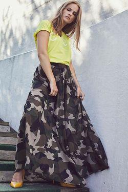 Fusta CO'COUTURE Khaki abbie camou maxi skirt