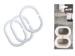 Inele pentru perdea MSV 12 buc albe, plastic