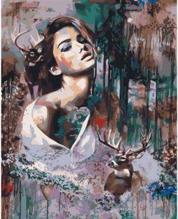 Pictura pe numere 40x50 Fată cu căprioare VA0061