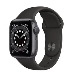 Apple Watch Series 6 GPS, 40mm, Aluminum Case with Black Sport Band, MG133 GPS, Space Gray
