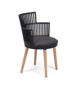 Пластиковый стул, деревянные ножки, 540x560.5x810 мм, черный