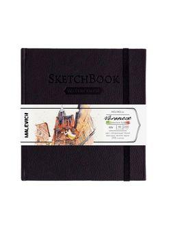 Sketchbook pentru acuarelă Malevich,Waterfall, negru 200 gm 14,5х14,5 cm, 40 foi