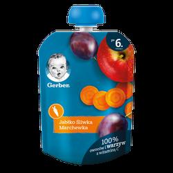 Pireu Gerber de mere, prune, morcov (6+ luni), 90g