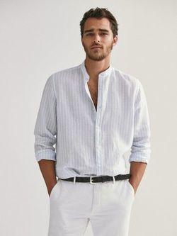 Рубашка Massimo Dutti Белый в голубую полоску 0185/182/403
