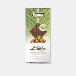 Шоколад молочный со стевией и мендалью без глютена Torras 125г
