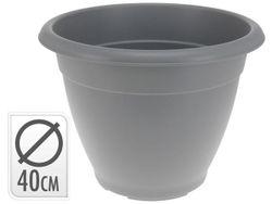 Вазон для цветов пластиковый D40cm, H31cm,серый
