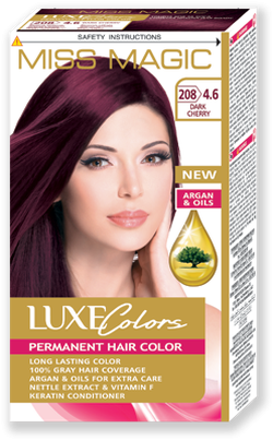 Vopsea p/u păr, SOLVEX Miss Magic Luxe Colors, 108 ml., 208 (4.6) - Roșcat închis