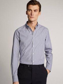 Рубашка Massimo Dutti Белый в синюю полоску 0106/123/400