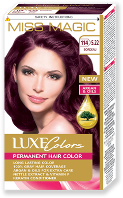 Vopsea p/u păr, SOLVEX Miss Magic Luxe Colors, 108 ml., 114 (5.22) - Roșu bordo