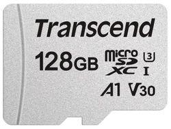 Сard de memorie Transcend MicroSD 128Gb Class 10 UHS-I +SD adapter (TS128GUSD300S-A)