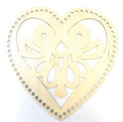 Formă din lemn inimă, 25 cm