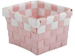 Cos impletit 10X10X7.5cm roz cu alb, plastic