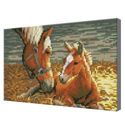 Лошадь с жеребенком, 20х30 см, алмазная мозаика