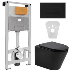 Комплект: NEMO BLACK Rimless унитаз подвесной с сидением+VOLLE MASTER NEO пневматическая 3в1+ALTO NEO с клавишей смыва, черная