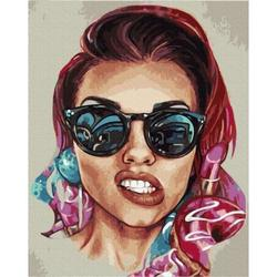 """Pictura pe numere 40x50 """"Fată cu ochelari"""" GX35649"""