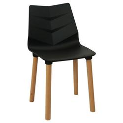 Пластиковый стул, деревянные ножки 500x460x830 мм, черный