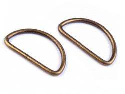 Metal D-ring width 38 mm, vintage brass