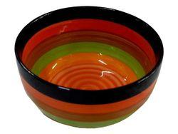 Салатница D17.6cm, разноцветные полоски, керамика