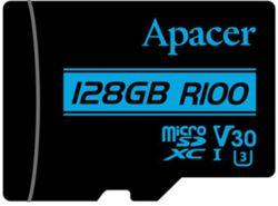 Сard de memorie Apacer microSDXC UHS-I U3 V30 R100 128GB +Adapter RP (AP128GMCSX10U7-R)