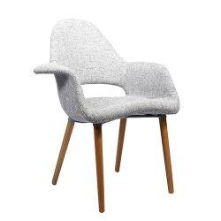 Мягкий стул с деревянными ножками, 730x610x940 мм, серый