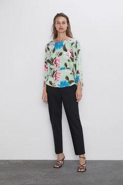 Блуза ZARA Зеленый с принтом 2157/241/330