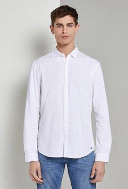 Рубашка TOM TAILOR Белый с принтом