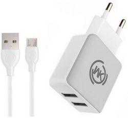 купить Зарядное устройство сетевое WK Design WP-U11 Blanc Charger Micro White в Кишинёве