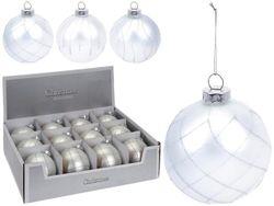 Glob pentru brad din sticla 100mm argintiu