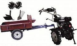 Set motocultivator TECHNOWORKER HB 700RS ECO+Remorca RK500 + plug cartofi + plug reglabil + roti metalice 4*8