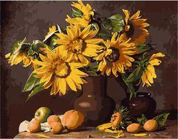 Pictura pe numere 40x50 Floarea-soarelui aurie VA0295