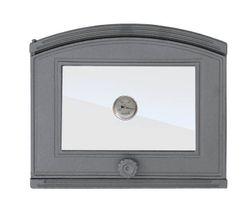 Дверца чугунная со стеклом и термометром левая DP1T
